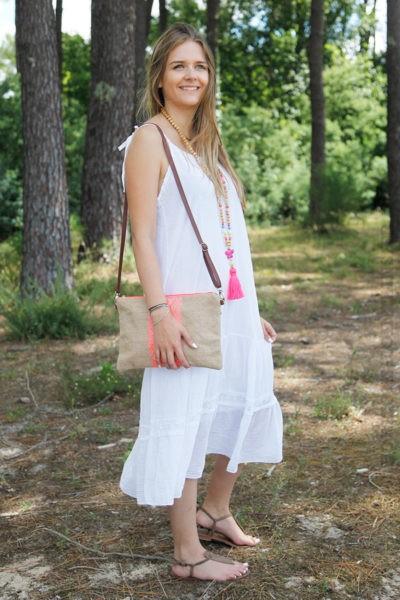 Robe-blanche-mi-longue-bretelles-à-nouer-B68