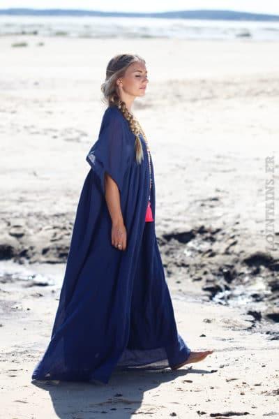 Robe longue dentelle bleue
