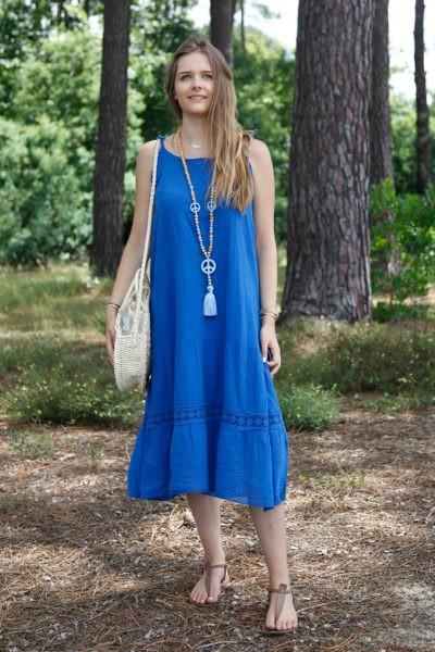Robe-bleu-roi-mi-longue-bretelles-à-nouer--B68