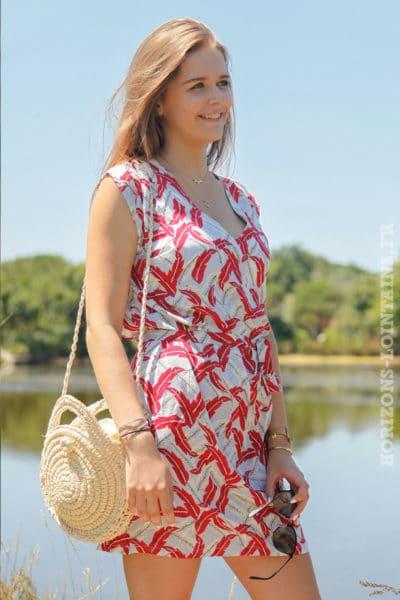 Robe-imprimé-plumes-rouge-ceinture-amovible