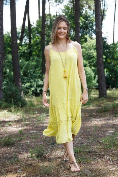 Robe-jaune-mi-longue-bretelles-à-nouer-B68