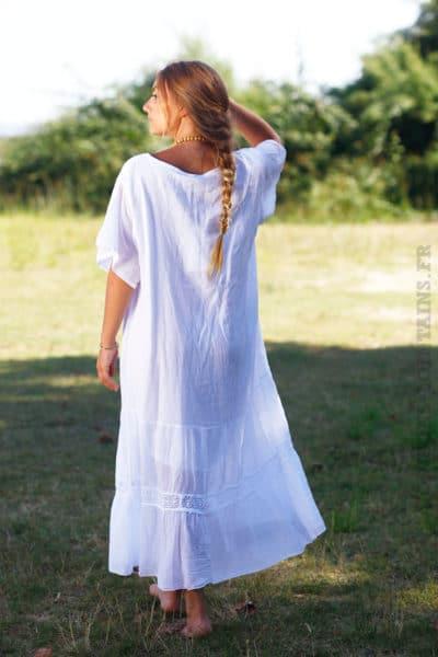 Robe-longue-blanche-col-V-en-voile-de-coton-doublé-B66-4