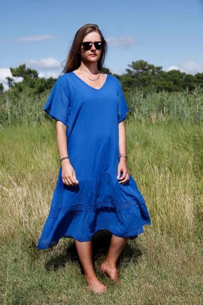 Robe--longue-bleu-roi-col-V-en-voile-de-coton-doublé--b66-2