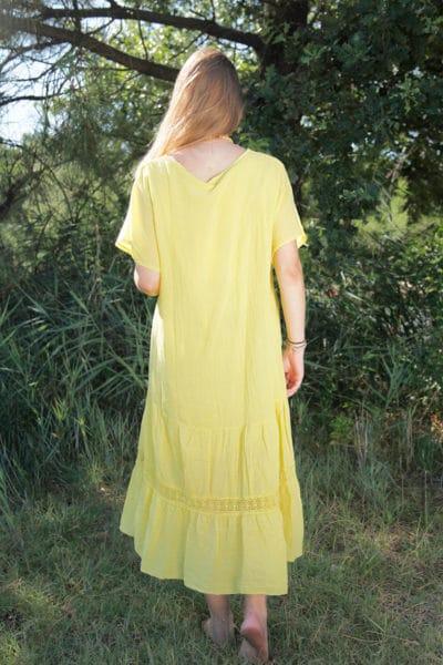 Robe-longue-jaune-col-V-en-voile-de-coton-doublé-B66-3
