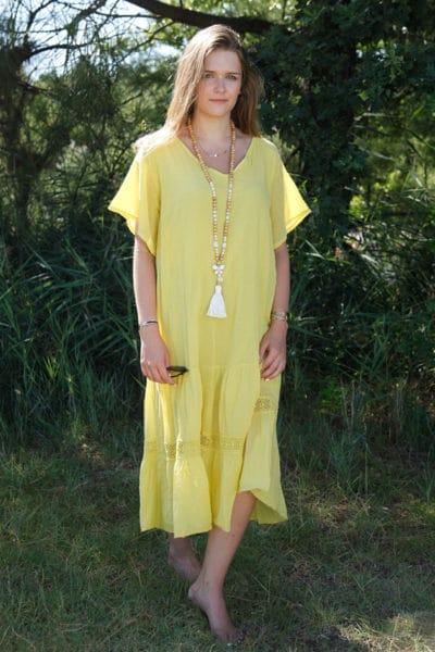 Robe-longue-jaune-col-V-en-voile-de-coton-doublé-B66