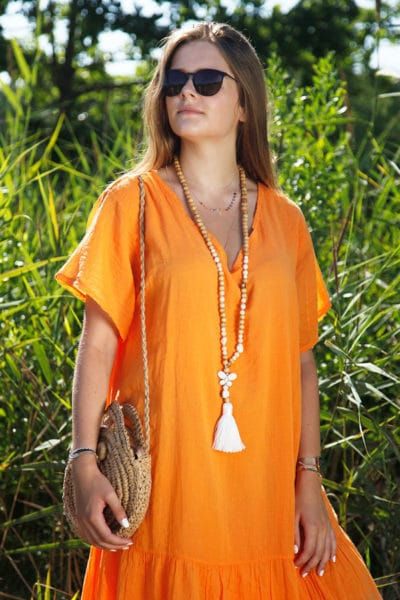 Robe-longue-orange-col-V-en-voile-de-coton-doublé--b66-2