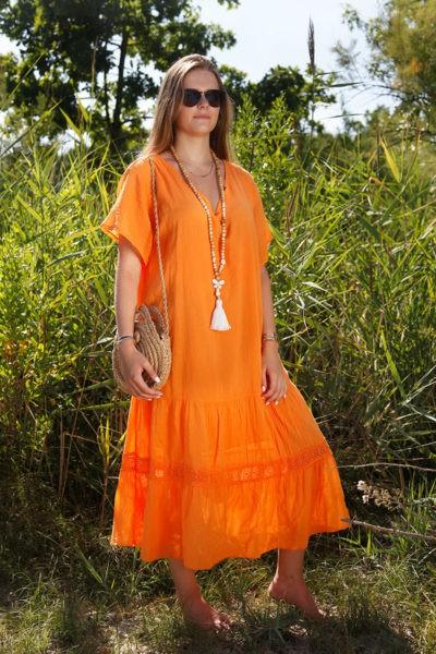 Robe-longue-orange-col-V-en-voile-de-coton-doublé--b66