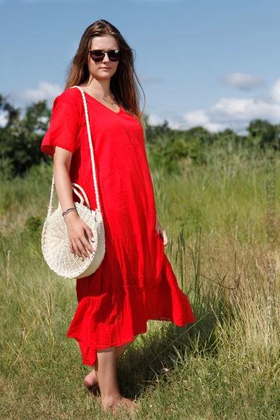 Robe-longue-rouge-col-V-en-voile-de-coton-doublé--B66