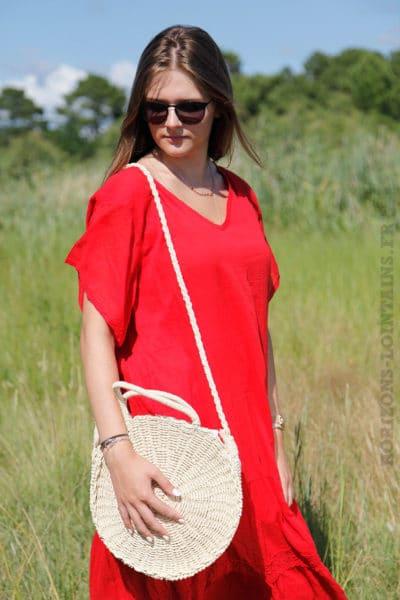 Robe-longue-rouge-col-V-en-voile-de-coton-doublé--B66-5