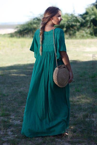 Robe-longue-vert-bohème-col-V-dentelle-B65-3