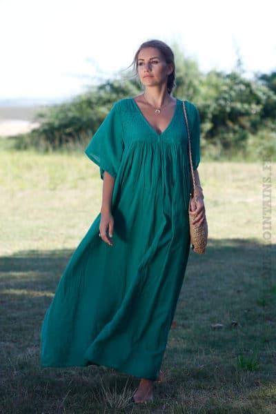Robe-longue-vert-bohème-col-V-dentelle-B65