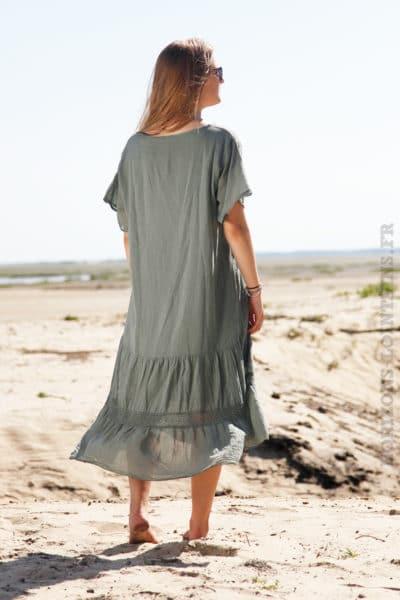 Robe-longue-vert-kaki-col-V-en-voile-de-coton-doublé--B66-2
