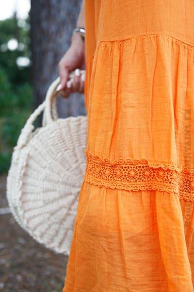 Robe-orange-mi-longue-bretelles-à-nouer--B68-4