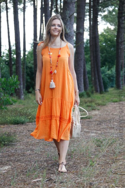 Robe-orange-mi-longue-bretelles-à-nouer-B68-5