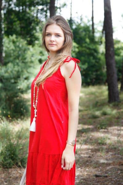 Robe-rouge-mi-longue-bretelles-à-nouer--B68