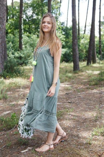 Robe-vert-kaki-mi-longue-bretelles-à-nouer--B68