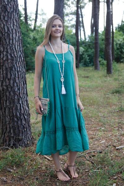 Robe-verte-mi-longue-bretelles-à-nouer-B68