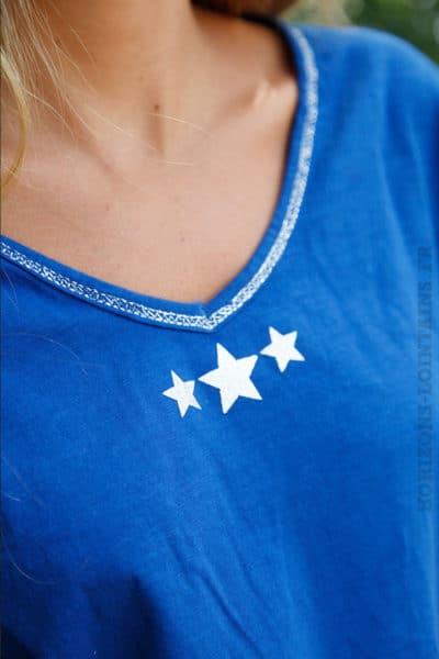 T-S-bleu-france-manches-longues,-3-petites-étoiles-argentées-b69