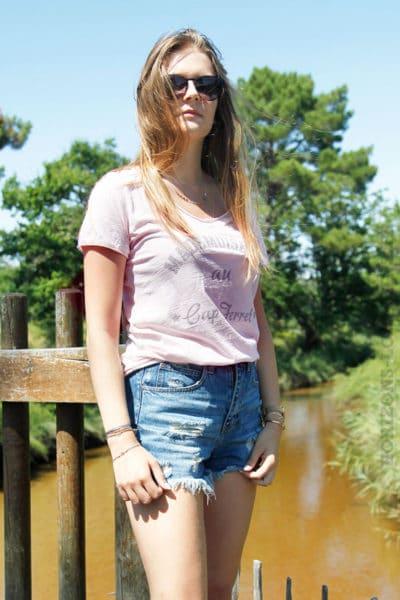 T-shirt-rose-mademoiselle-au-cap-ferret-b168