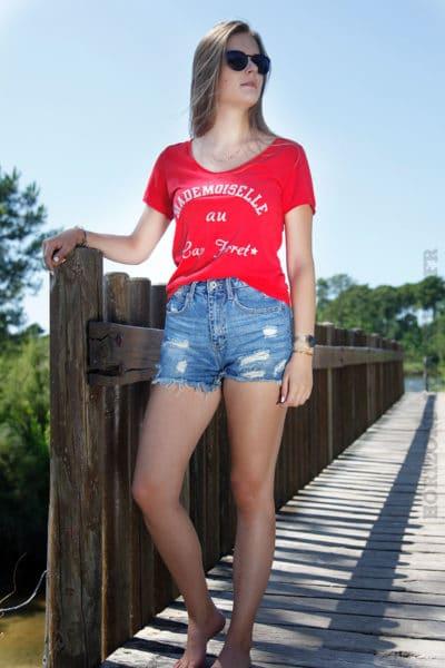 T-shirt-rouge-mademoiselle-au-cap-ferret-b168