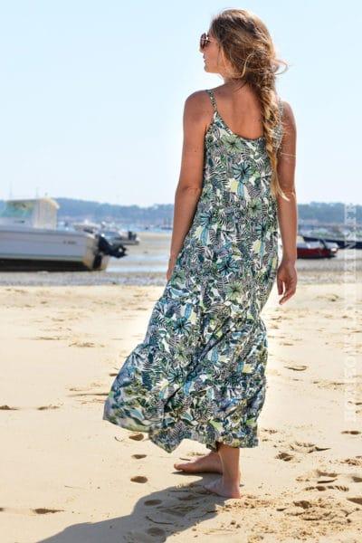 robe-B057-longue-volantee-imprime-fleurs-tropical-vert-