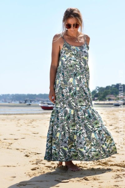 robe-B057-longue-volantee-imprime-fleurs-tropical-vert
