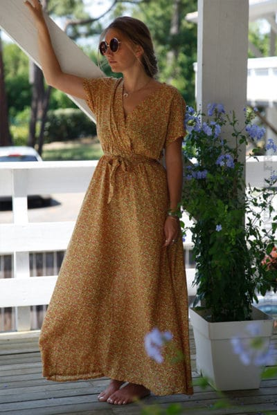 Robe jaune moutarde longue imprimé liberty