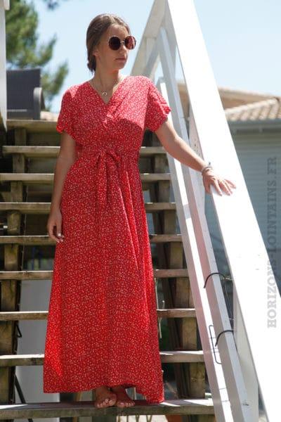 Robe rouge longue imprimé liberty