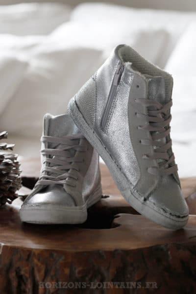 Baskets brillantes montantes argentées silver éclair talon strass B027