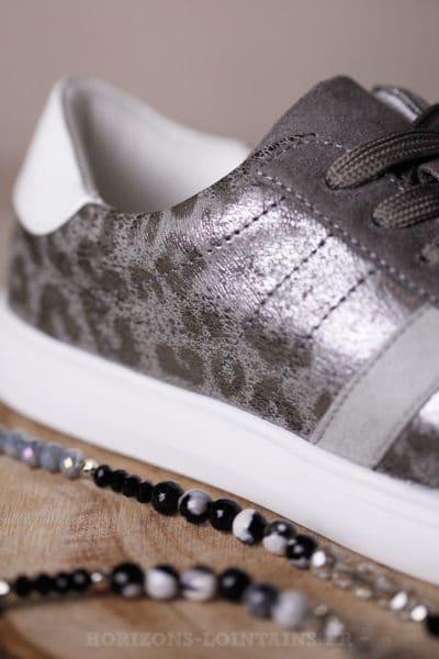 Baskets grises imprimé léopard chaussures sneakers