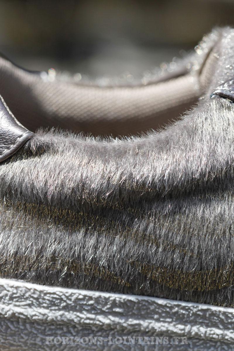 Baskets imprimé marron revêtement poils zèbre argenté