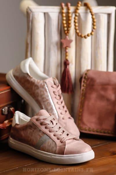 Baskets rose imprimés léopard sneakers femme