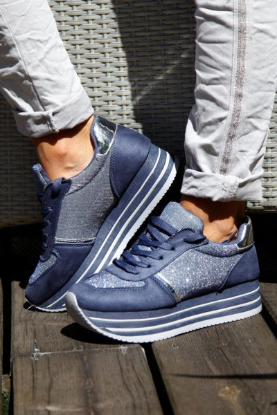 Baskets-running-bleues-et-argent-plateforme--b25