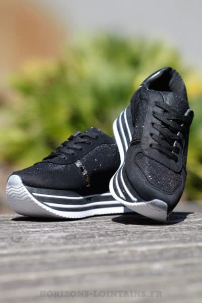 Baskets running noires blanches brillant plateforme chaussures sneakers  talon B025 355a2745402b