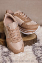 Baskets running rose nude brillant plateforme chaussures sneakers talon B025