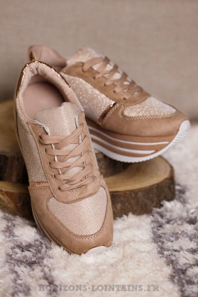 Baskets running rose nude brillant plateforme chaussures sneakers talon B025 3d057129388d