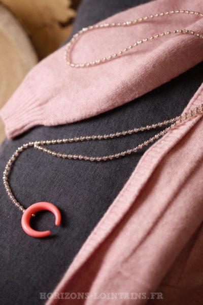 Collier petites perles fines facettes corne rose malabar bijou