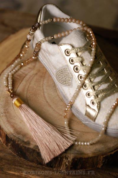 Collier sautoir perles pompon beige perle dorée