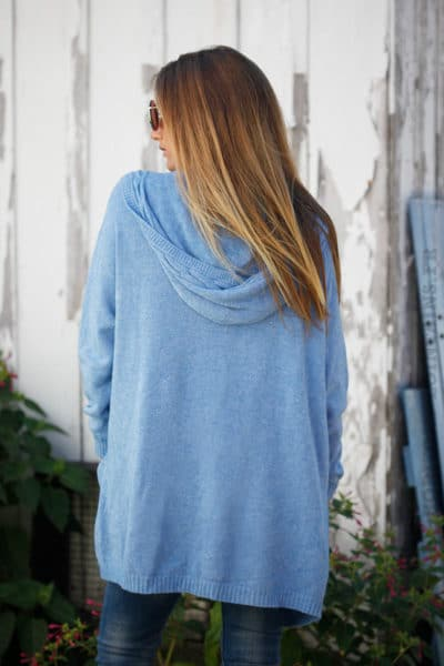 Gilet bleu lavande doux mi-long à capuche