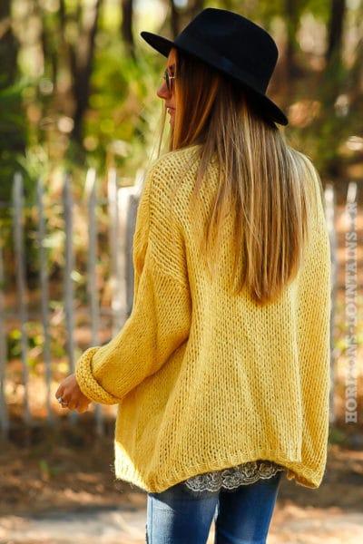 Gilet jaune grosses mailles ample confortable vêtement femme horizons lointains 011