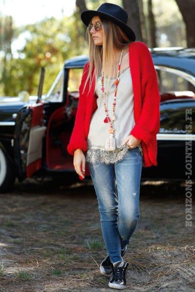 Gilet rouge grosses mailles ample confortable vêtement femme horizons lointains 011