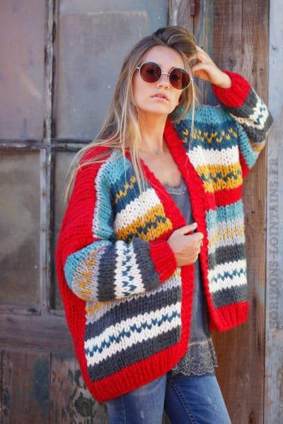 Gilet-rouge-grosses-mailles-tricoté-main-B16-2