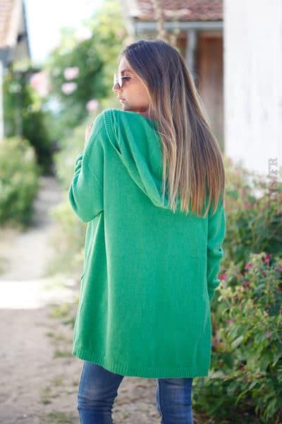 Gilet vert doux mi-long à capuche