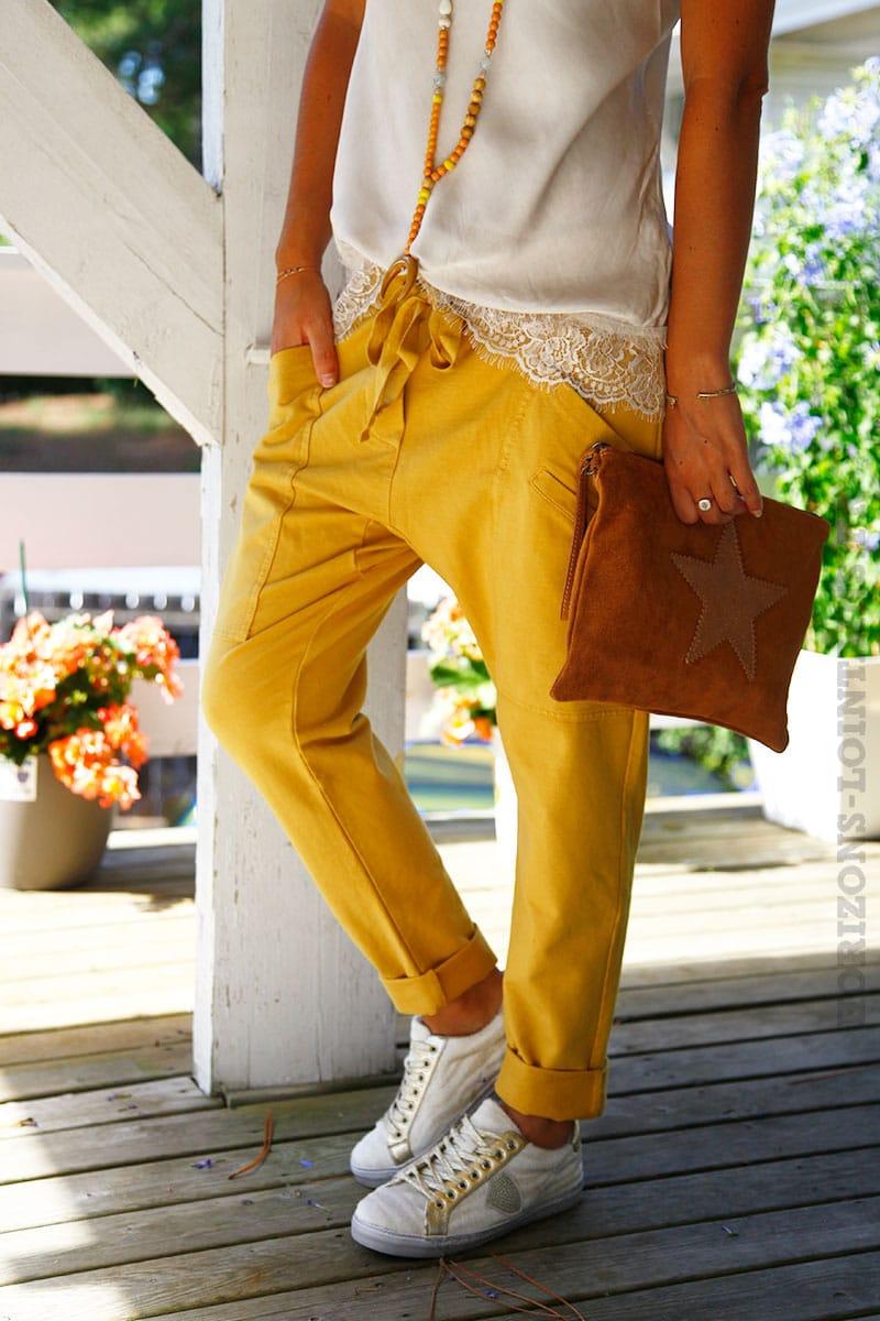 953c3a43356eb Pantalon de jogging urbain jaune moutarde à poches - Horizons Lointains