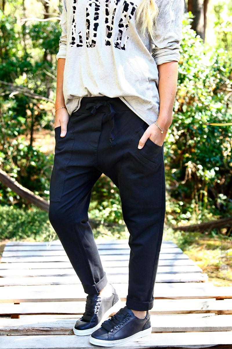 Pantalon de jogging urbain noir à poches - Horizons Lointains 16d9e175e38