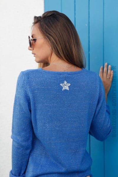 Pull-bleu-col-V-étoile-argentée-sequins-dos-b178-3