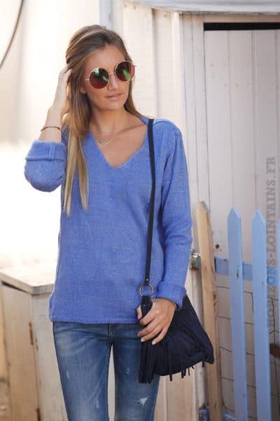Pull-bleu-lavande--col-V-étoile-argentée-sequins-dos-b178-1