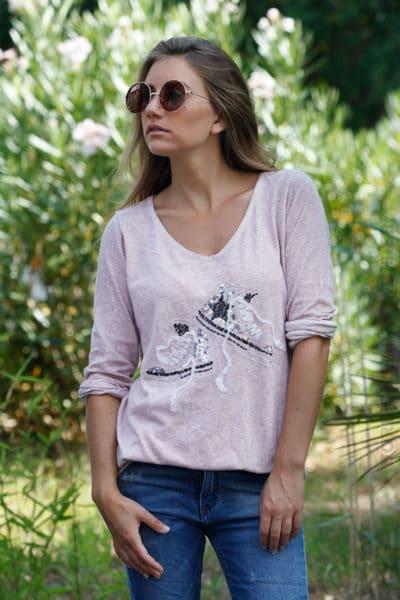 Pull-fin-rose-poudre-en-coton-baskets-sequins-B175