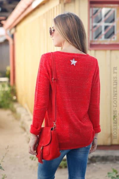 Pull-rouge-col-V-étoile-argentée-sequins-dos-b178