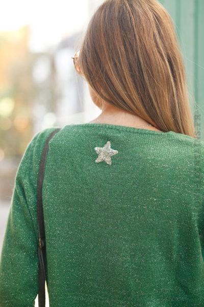 Pull-vert-col-V-étoile-argentée-sequins-dos-b178